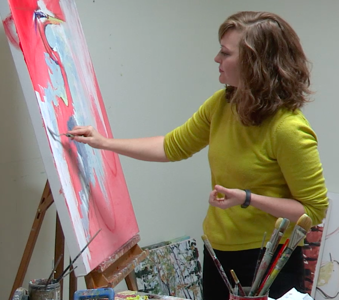 Denise Hopkins working with Oil Paints