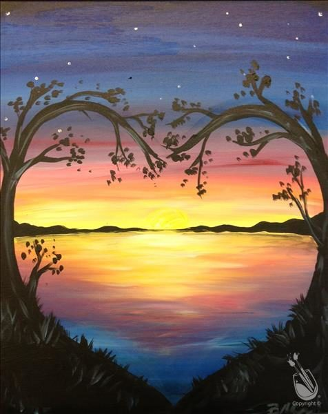"Painting with a Twist Art Spotlight: ""Lovely Lake Sunset"""