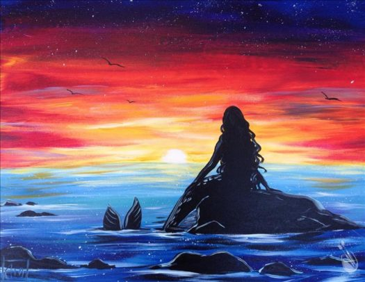 "Painting with a Twist's Art Spotlight: ""Mermaid Sunset"""