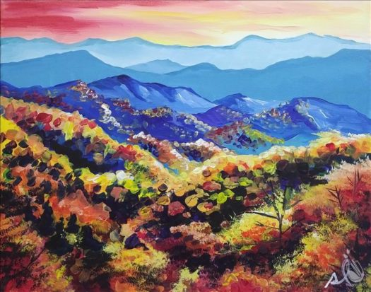 "Painting with a Twist's Art Spotlight: ""Smoky Mountains in Fall"""
