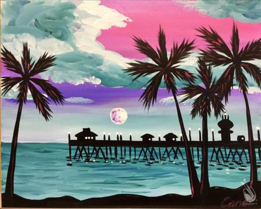 "Painting with a Twist's Art Spotlight: ""Teal Skies Over HB Pier"""