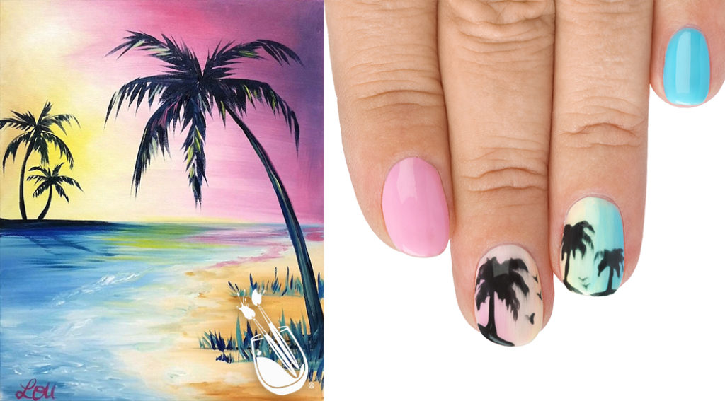 "Painting with a Twist's ""Bubble Gum Beach"" Nail Styles"