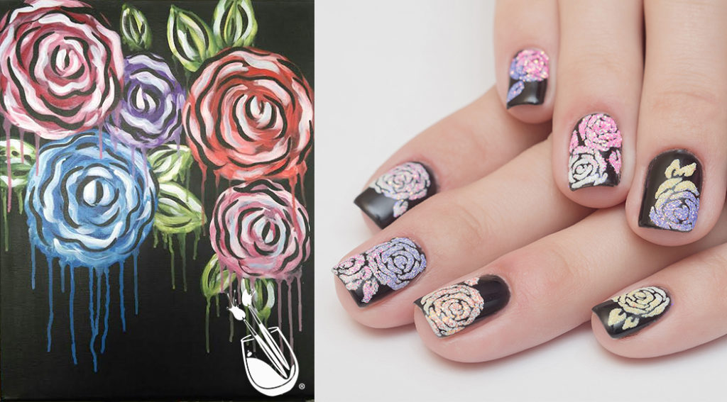 "Painting with a Twist's ""Dripping Flowers"" Nail Styles"