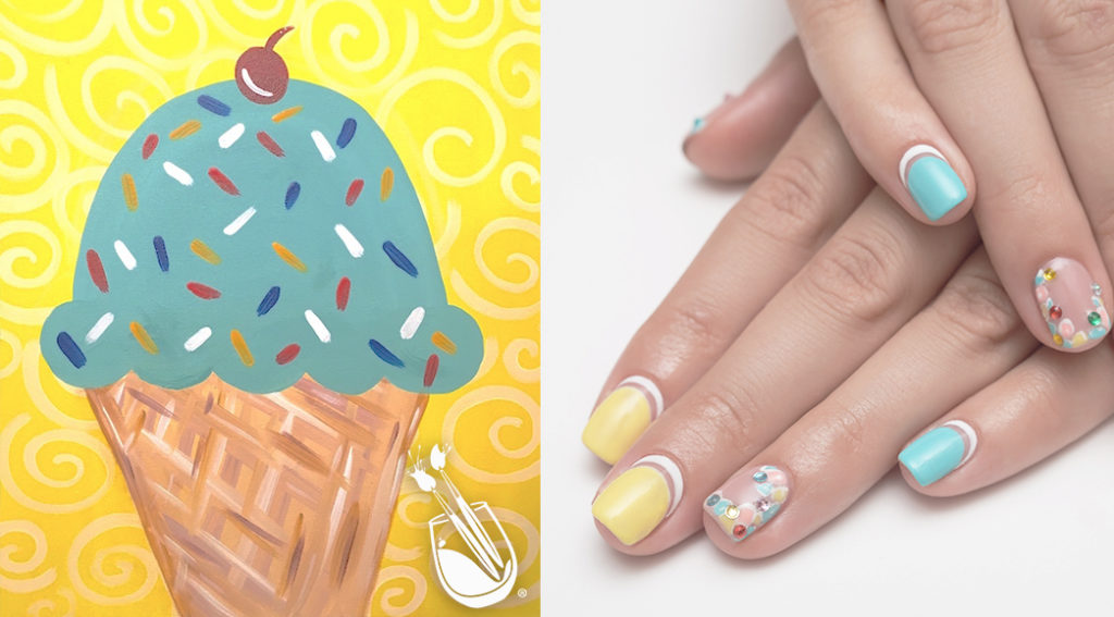 "Painting with a Twist's ""Ice Cream with a Twist"" Nail Styles"