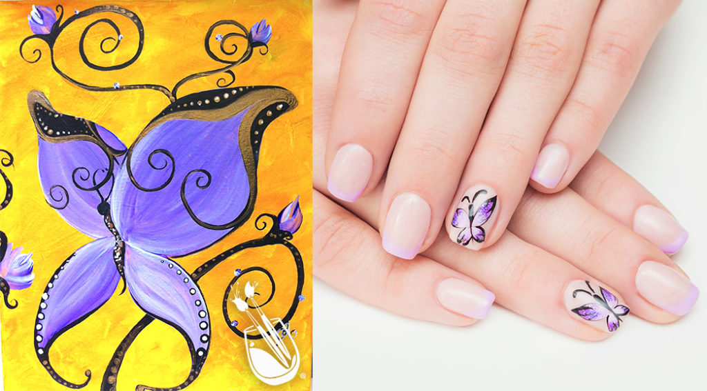 "Painting with a Twist's ""Purple Butterfly"" Nail Styles"
