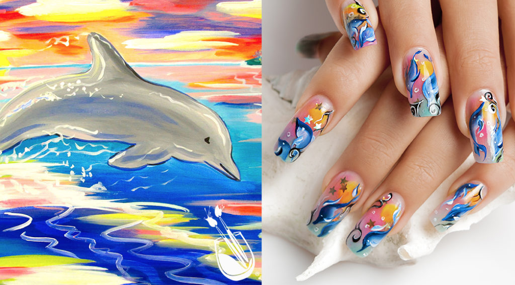 "Painting with a Twist's ""Sunset Leaping Dolphin"" Nail Styles"