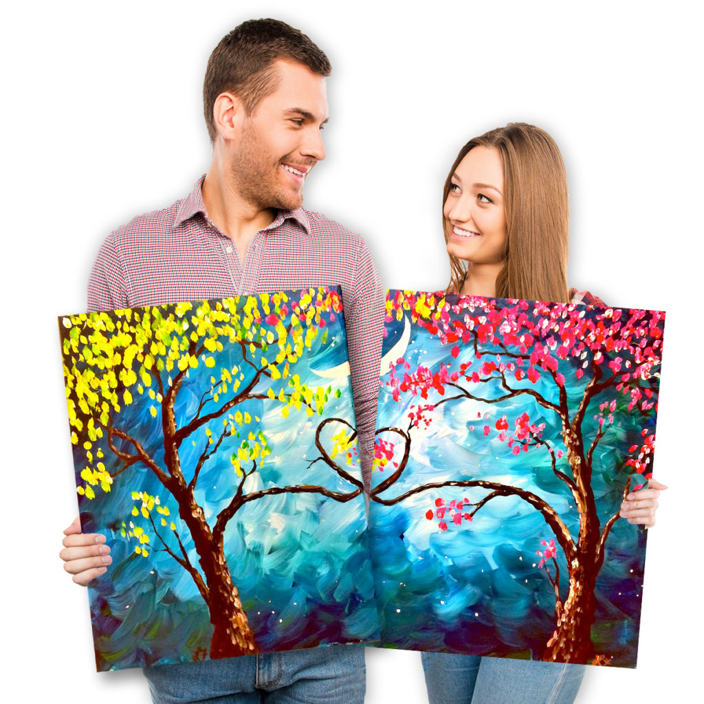 Date Night: Love Trees At Night Set by Painting with a Twist