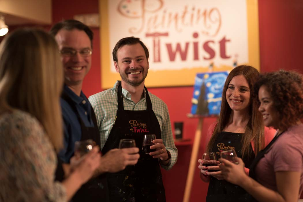 paint and sip party at painting with a twist