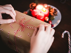 person opening present