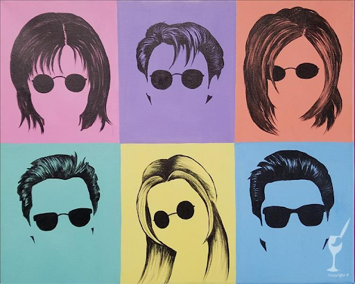 Friends faces with sunglasses in pop art form.