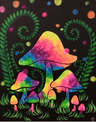Blacklight Mushrooms Art