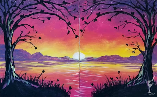 trees and sunset set